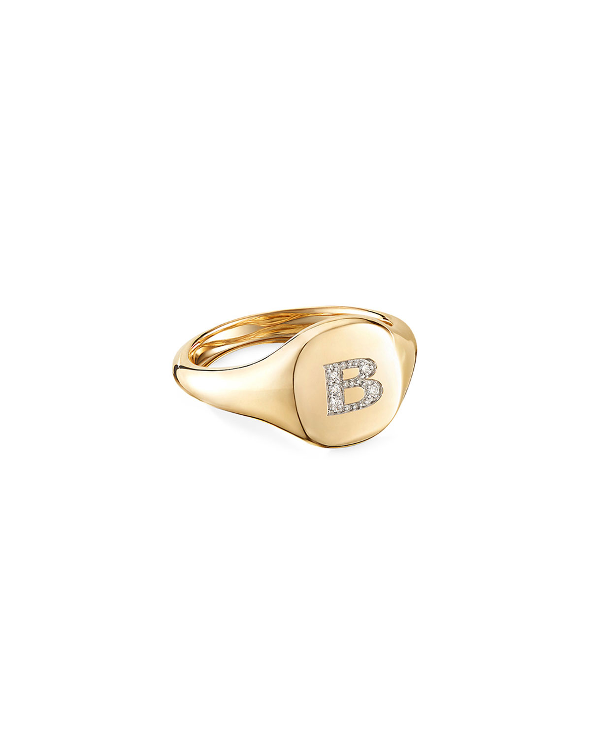 David Yurman Mini DY Initial B Pinky Ring in 18K Yellow Gold with Diamonds, Size 4.5