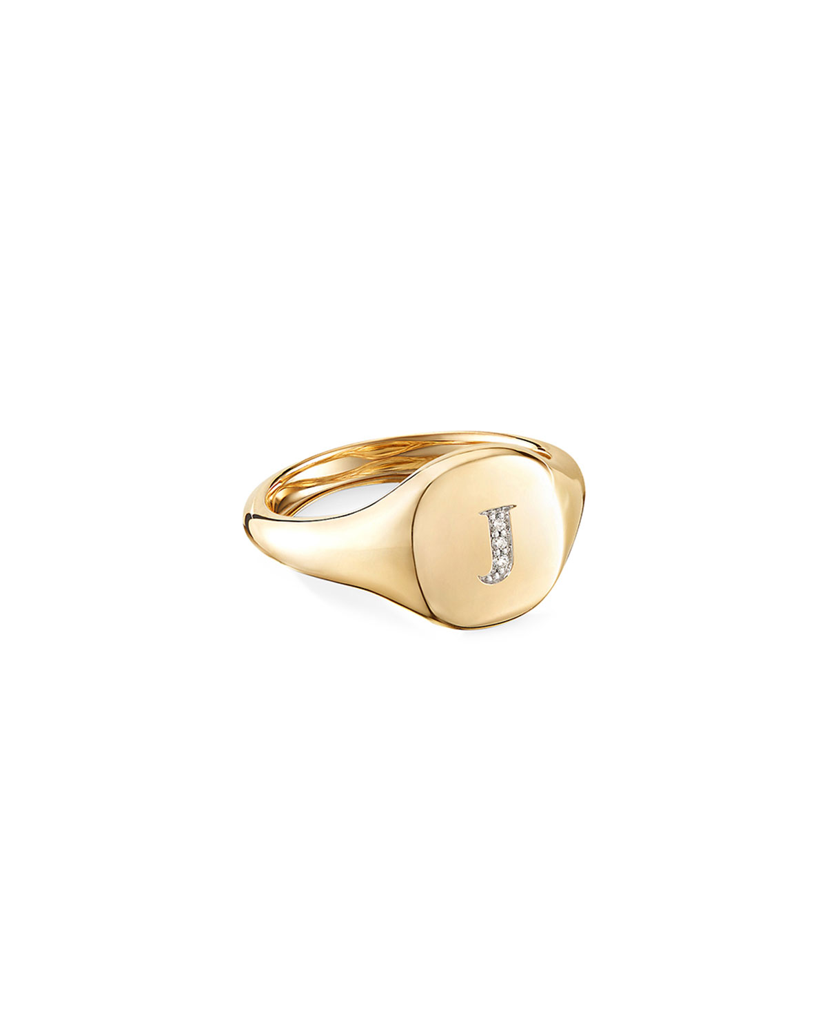 David Yurman Mini DY Initial J Pinky Ring in 18K Yellow Gold with Diamonds, Size 4.5