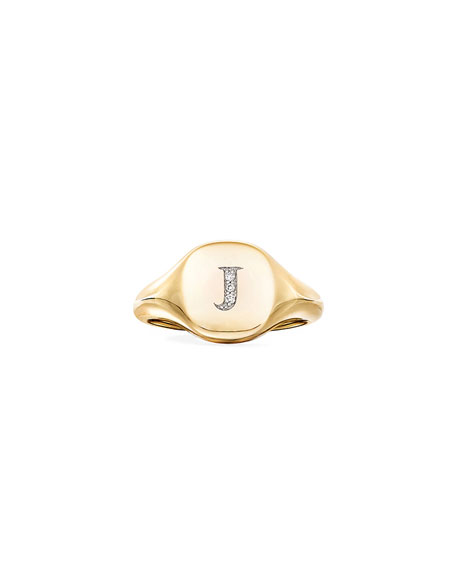 Image 2 of 2: David Yurman Mini DY Initial J Pinky Ring in 18K Yellow Gold with Diamonds, Size 5.5
