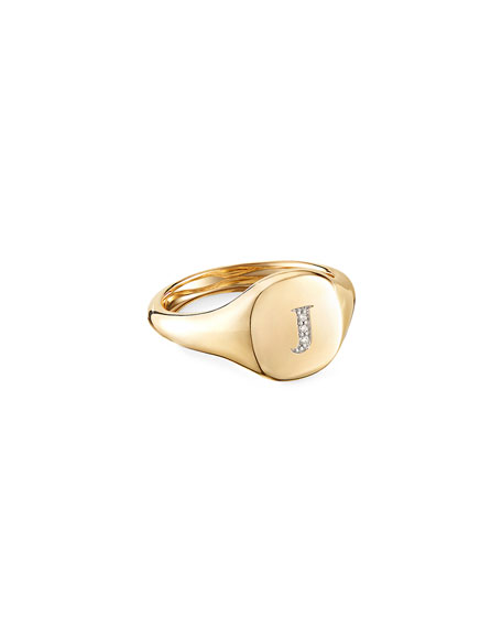 Image 1 of 2: David Yurman Mini DY Initial J Pinky Ring in 18K Yellow Gold with Diamonds, Size 5.5