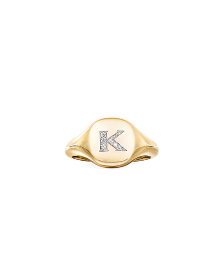 Image 2 of 2: David Yurman Mini DY Initial K Pinky Ring in 18K Yellow Gold with Diamonds, Size 3.5