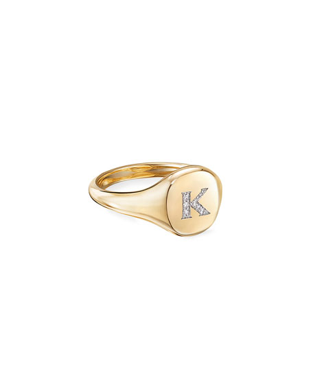 Image 1 of 2: David Yurman Mini DY Initial K Pinky Ring in 18K Yellow Gold with Diamonds, Size 3.5