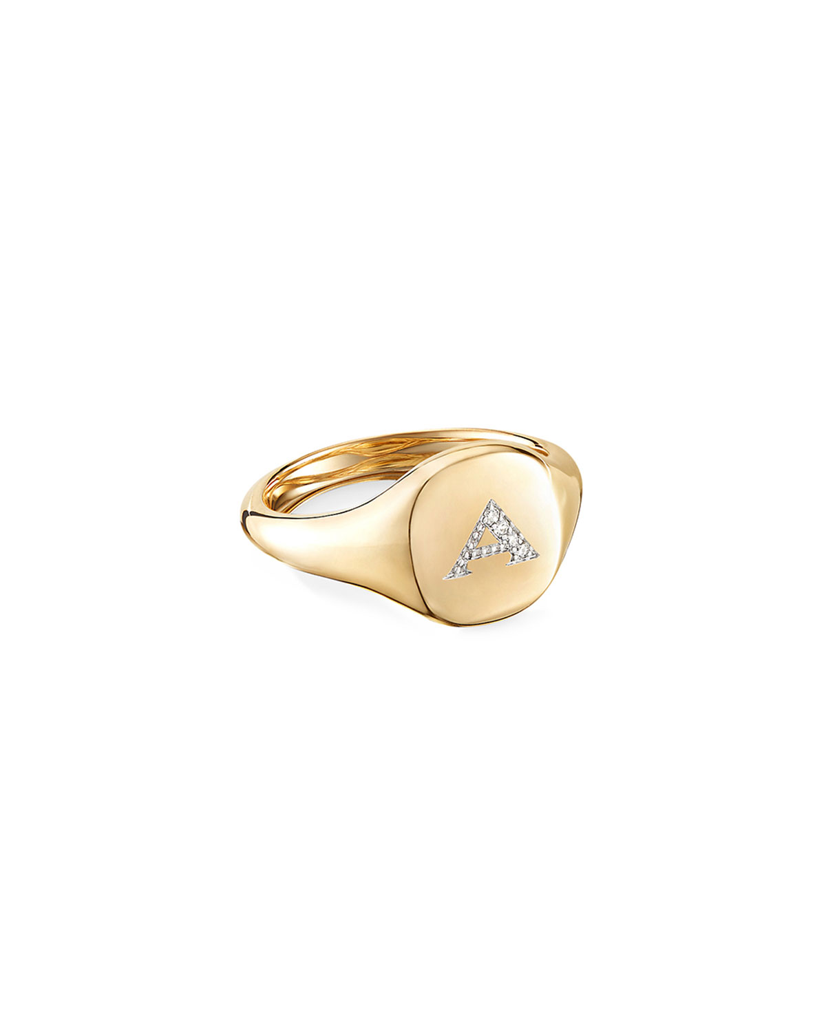 David Yurman Mini DY Initial A Pinky Ring in 18K Yellow Gold with Diamonds, Size 3