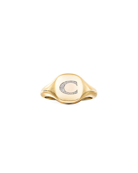 Image 2 of 2: David Yurman Mini DY Initial C Pinky Ring in 18K Yellow Gold with Diamonds, Size 3