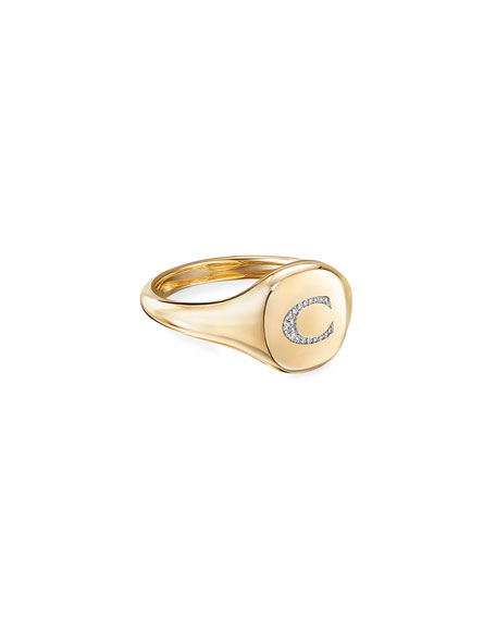 Image 1 of 2: David Yurman Mini DY Initial C Pinky Ring in 18K Yellow Gold with Diamonds, Size 3