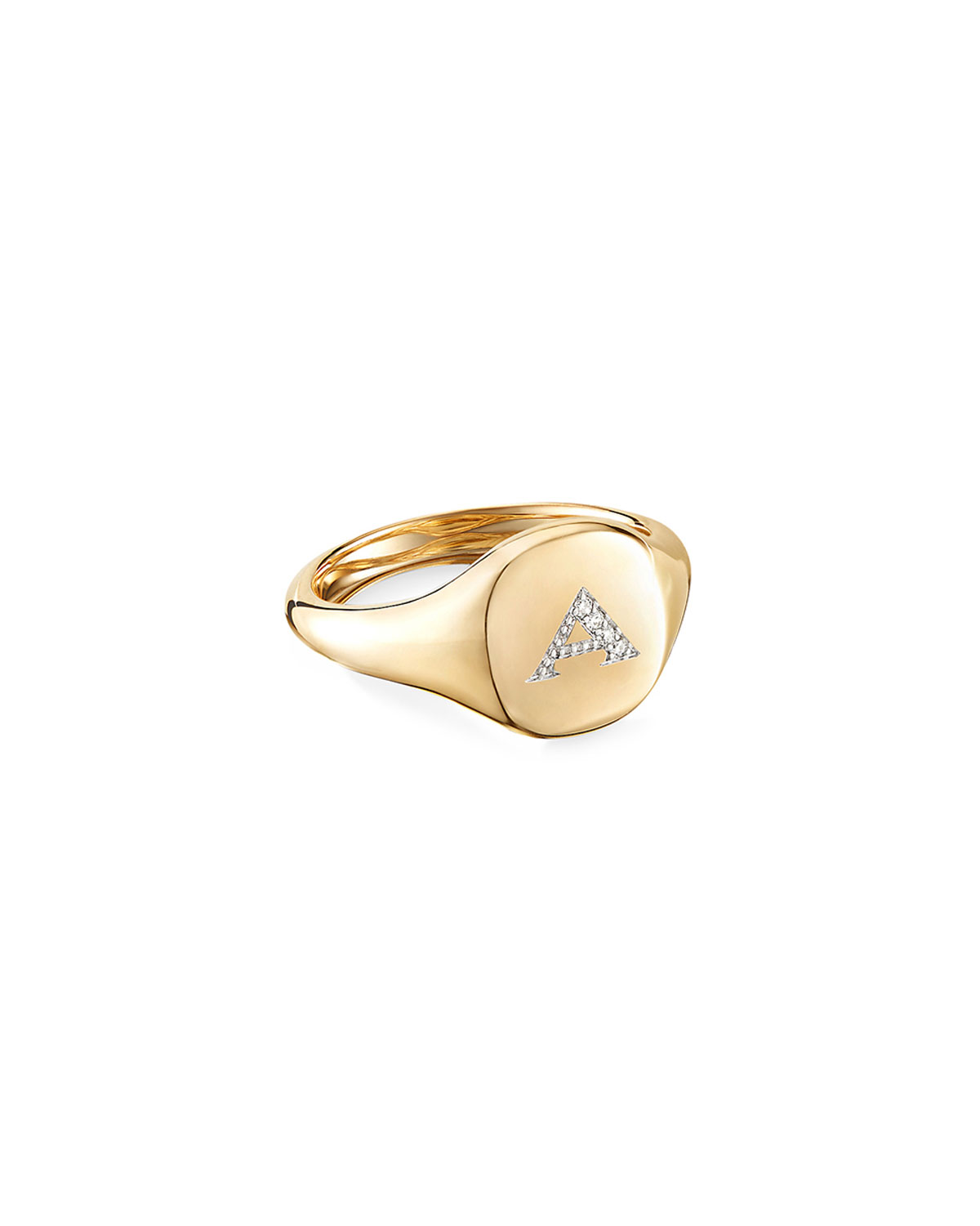 David Yurman Mini DY Initial A Pinky Ring in 18K Yellow Gold with Diamonds, Size 4