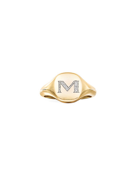 Image 2 of 2: David Yurman Mini DY Initial M Pinky Ring in 18K Yellow Gold with Diamonds, Size 4
