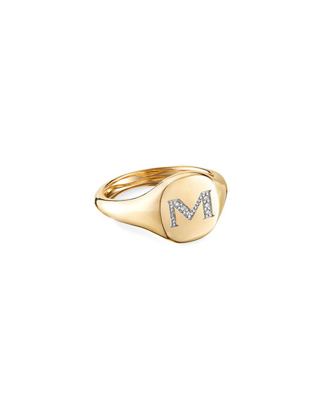 Image 1 of 2: David Yurman Mini DY Initial M Pinky Ring in 18K Yellow Gold with Diamonds, Size 4