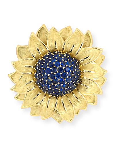 Estate Carved Sapphire Sunflower Brooch
