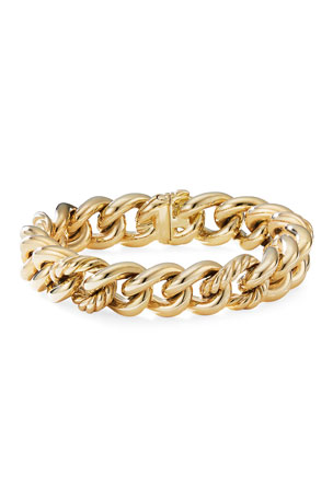 David Yurman 18k Yellow Gold Curb Chain Bracelet, Size M