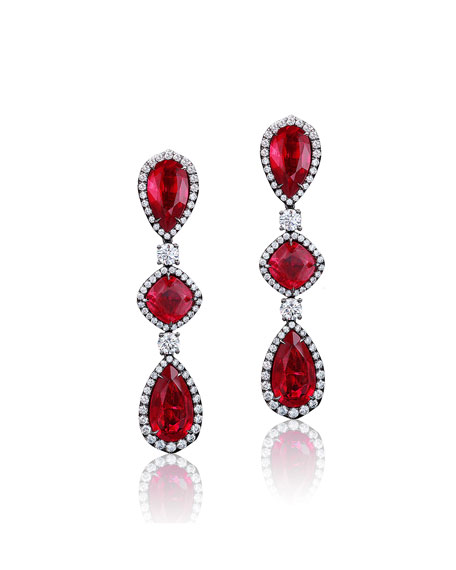 Image 1 of 2: Bayco 18k Black Gold Mozambique Ruby and Diamond Earrings