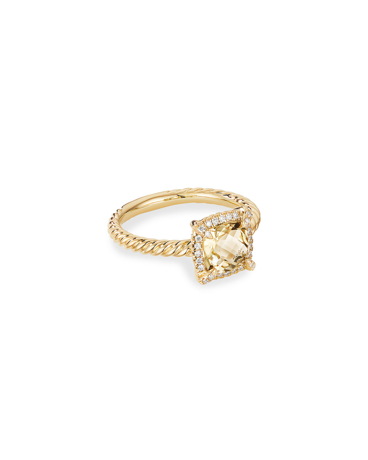 David Yurman Petite Chatelaine Pave Bezel Ring in 18K Gold with Champagne Citrine, Size 8