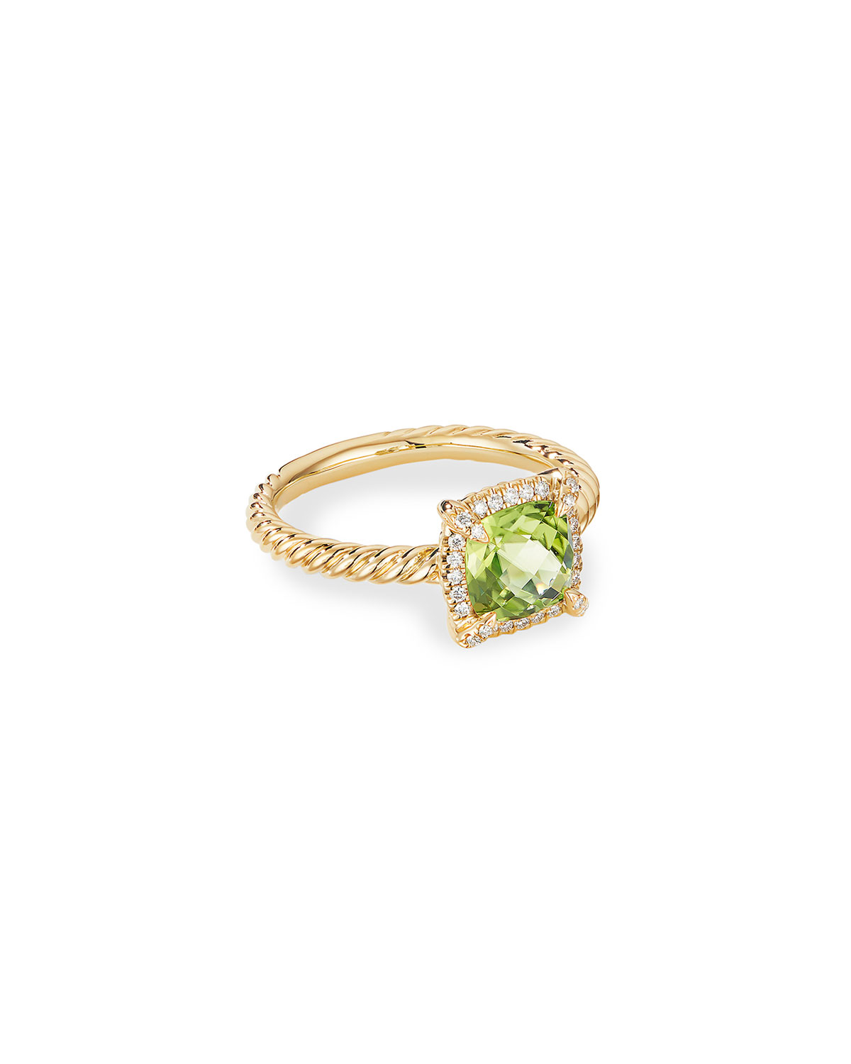 David Yurman Petite Chatelaine Pave Bezel Ring in 18K Gold with Peridot, Size 5