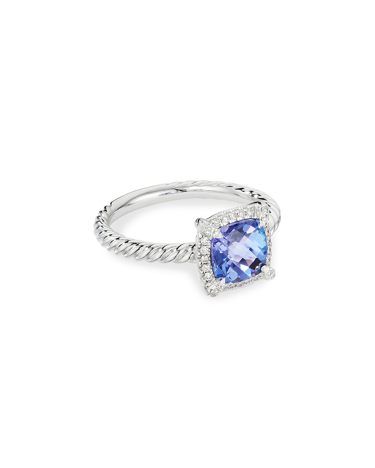 David Yurman Petite Chatelaine Pave Bezel Ring in 18K White Gold with Tanzanite, Size 6