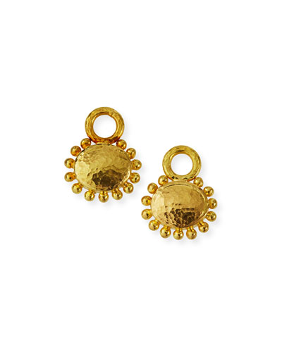 19k Oval Domed Earring Pendants