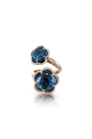 Pasquale Bruni Bon Ton 18k London Blue Topaz Bypass Ring with Diamonds