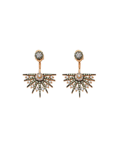 Jardin Star Multi-Diamond Curved Drop Earrings