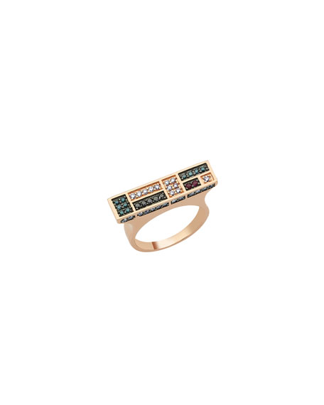 Image 1 of 2: BeeGoddess Mondrian Multi-Diamond and Ruby Bar Ring, Size 7