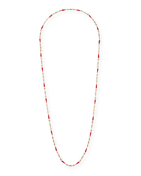 "Image 1 of 2: Etho Maria 18k Yellow Gold Red Ceramic and Brown Diamond Necklace, 38""L"