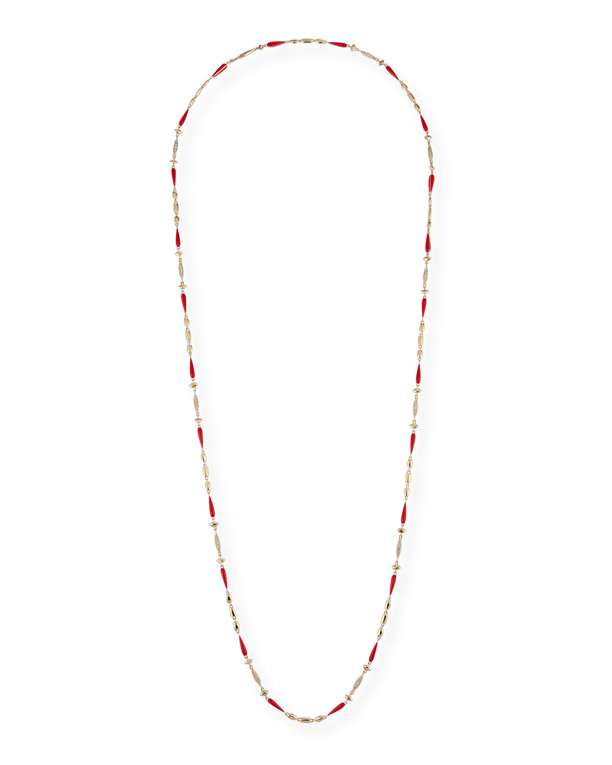 "Etho Maria 18k Yellow Gold Red Ceramic and Brown Diamond Necklace, 38""L"