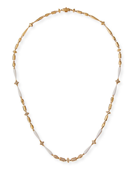 Image 1 of 3: Etho Maria 18k Yellow Gold White Ceramic and Brown Diamond Necklace