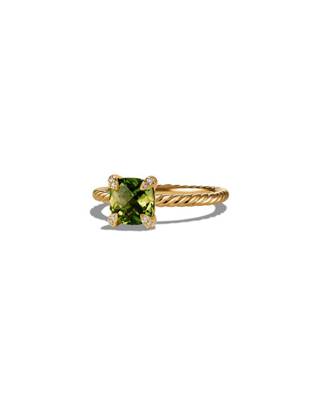 Image 1 of 4: David Yurman Petite Chatelaine Pave Ring in 18K Gold with Peridot, Size 7