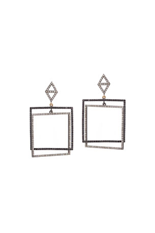 Kastel Jewelry Color Block Square-Drop Diamond and Black Spinel Earrings