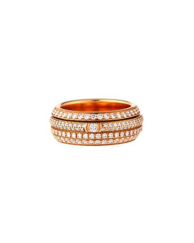 Possession Full Pavé Diamond Band Ring in 18K Rose Gold, Size 54