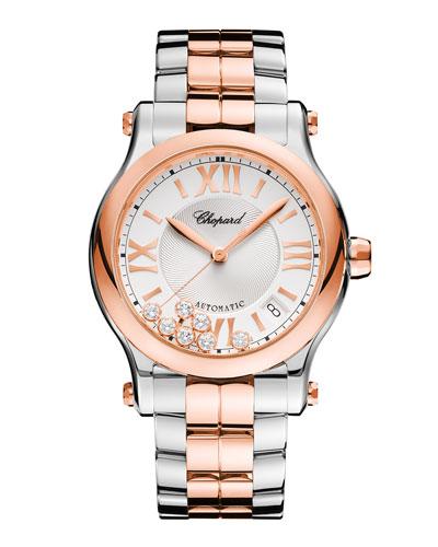 36mm Happy Sport Two-Tone Watch with Diamonds