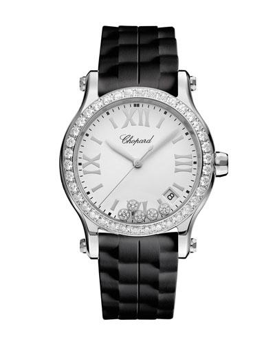36 mm Happy Sport Medium Stainless Steel Watch with Diamonds