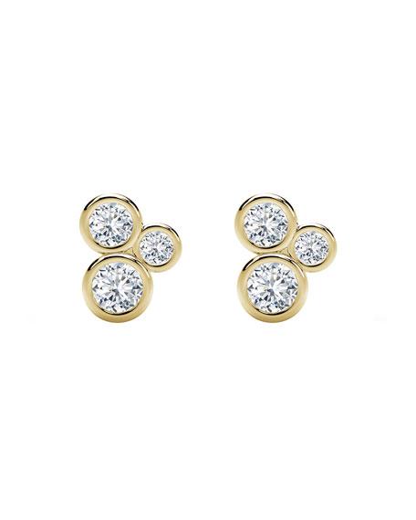 Forevermark Tribute 18k Gold 3-Diamond Bezel Stud Earrings