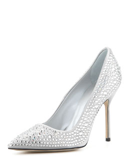 Manolo Blahnik BB Crystal Pump, Silver