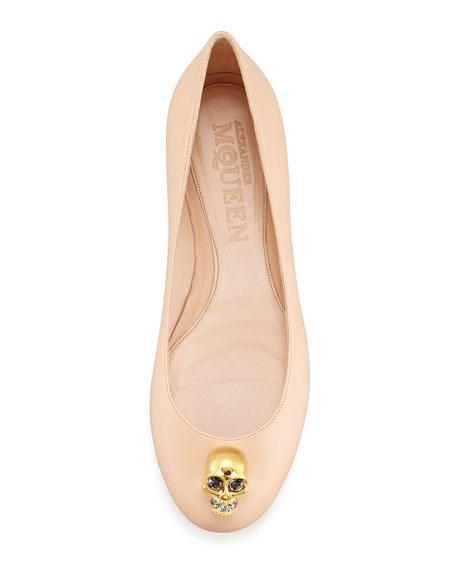 Skull-Toe Ballerina Flat, Nude