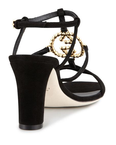Katlin Mid-Heel Sandal, Black