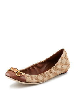 Gucci Faith Logo Horsebit Ballerina Flat