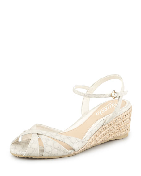 Penelope Leather Espadrille Wedge Sandal