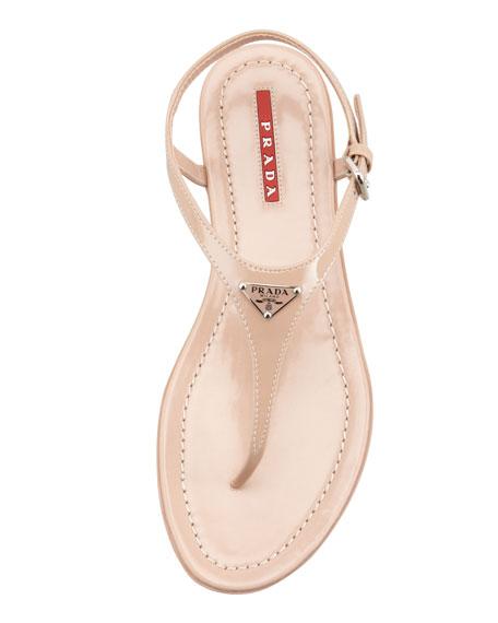 Flat Patent Leather Thong Sandal, Nudo