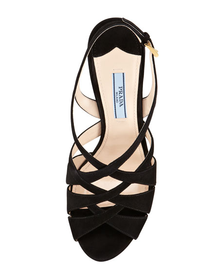 Crisscross Suede Platform Sandal