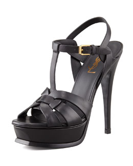 Saint Laurent Tribute Platform Sandal, Black