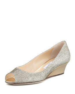 Jimmy Choo Bergen Peep-Toe Metallic Wedge, Bronze