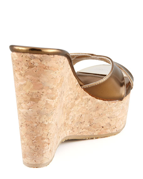 Perfume Cork and Metallic Leather Wedge Slide