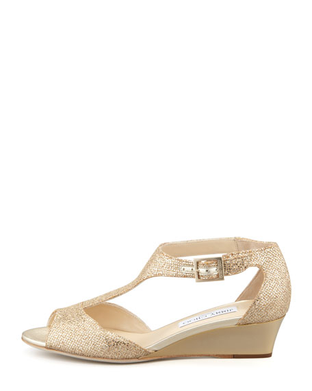 Treat Glittered T-Strap Micro Wedge Sandal