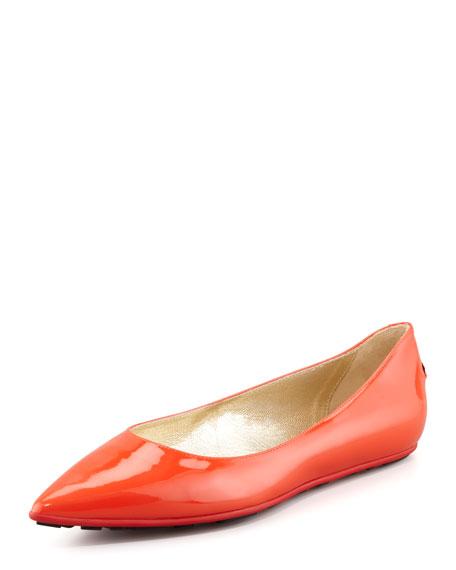 Glenda Pointed Toe Ballet Flat, Tangerine