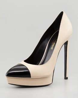 Saint Laurent Janis Two-Tone Cap-Toe Platform Pump, Poudre/Black
