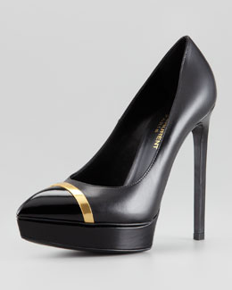 Saint Laurent Janis Metal-Trim Cap-Toe Platform Pump