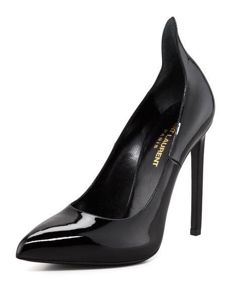 Patent Leather Pump With Pointed Counter