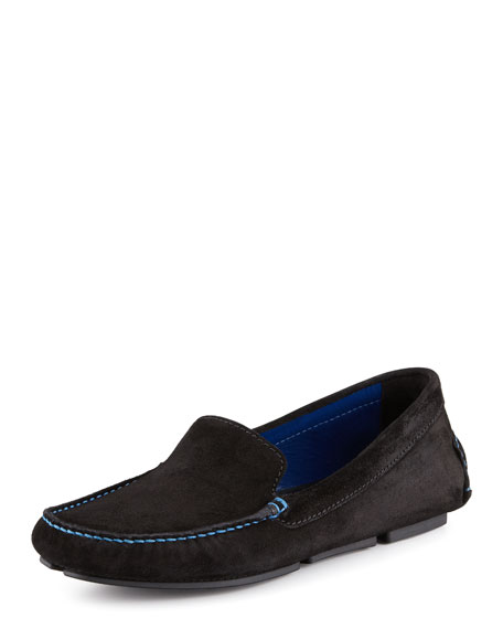 Suede Slip-On Moccasin, Black