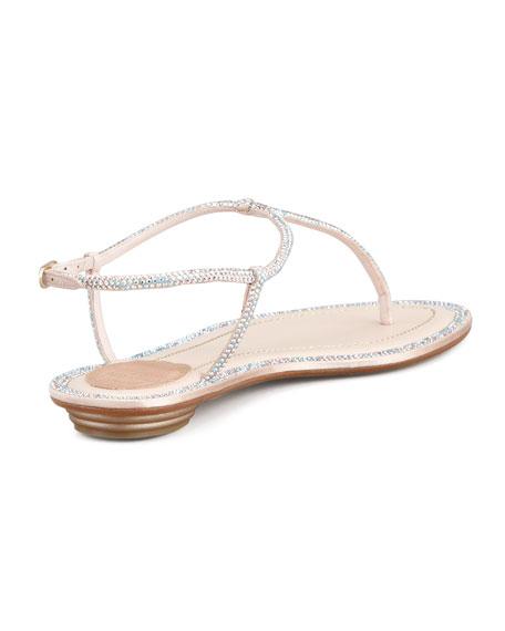Crystal Flat Thong Sandal, Beige
