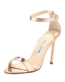 Manolo Blahnik Chaos Metallic Sandal, Rose Gold
