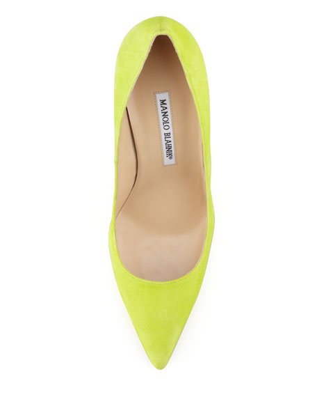 BB Suede Pointed-Toe Pump, Lime Green